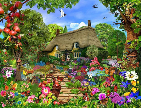 Jigsaw Puzzle - Thatched Cottage Garden 1000 Or 500 Piece Jigsaw Puzzles
