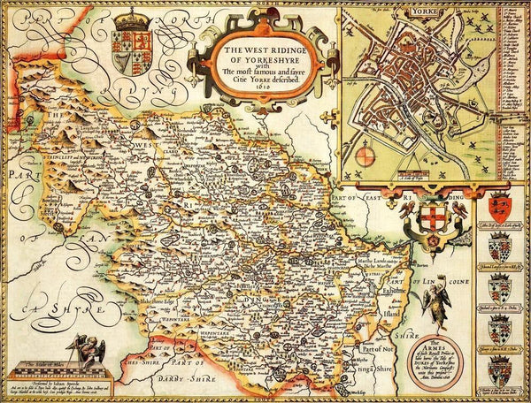 Yorkshire West Riding Historical Map 1000 Piece Jigsaw Puzzle (1610) - All Jigsaw Puzzles UK  - 1