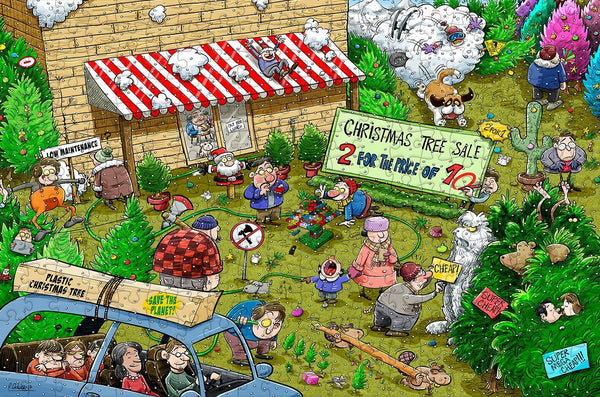 Chaos at Christmas Tree Farm 300 Piece Wooden Jigsaw Puzzle