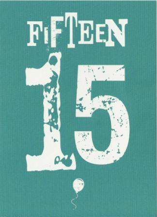 Age 15 - 15th Birthday - Letterpress 15 Blue