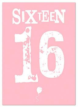 Age 16 - 16th Birthday - Letterpress 16 Pink