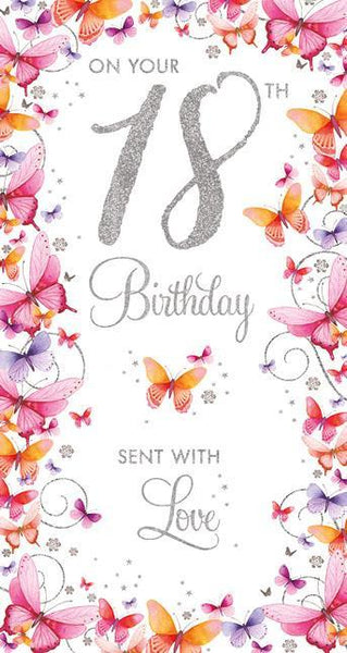 Age 18 - 18th Birthday - Butterfly Border