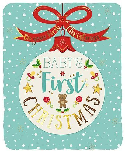 Christmas Card - Baby's 1st Christmas - Bauble