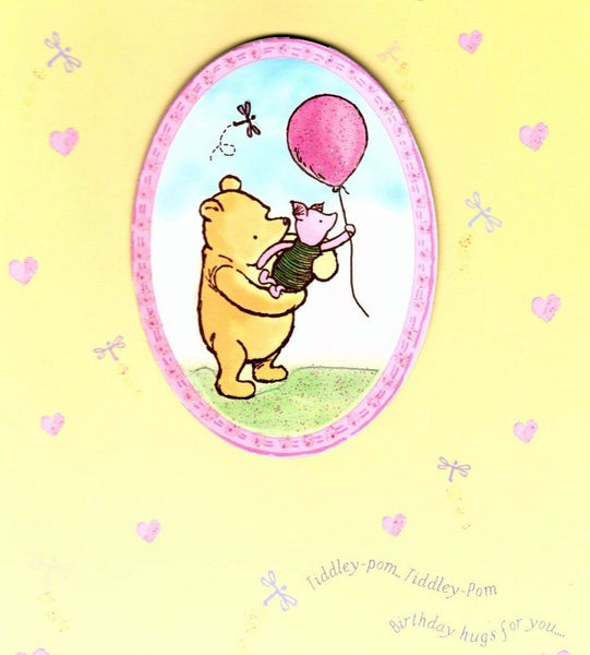 Female Relations, Daughter Birthday, Age 1 - Daughter Birthday Card - Winnie & Piglet - 1st Birthday