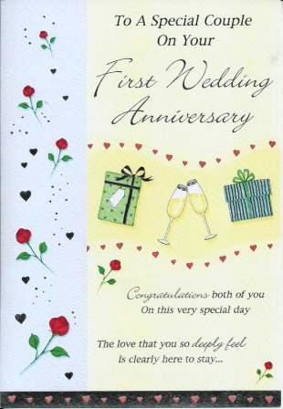 Anniversary Card - 1st Anniversary - Just For You