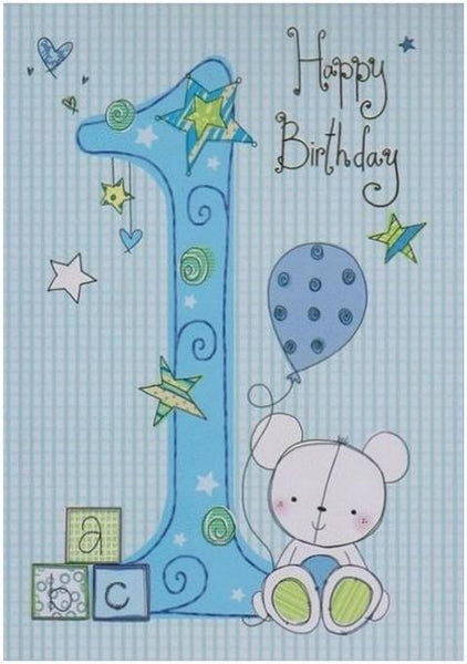Age 1 - 1st Birthday - ABC Blocks Bear With Balloon