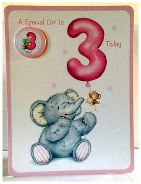 Age 3 - 3rd Birthday - Elephant With Balloon