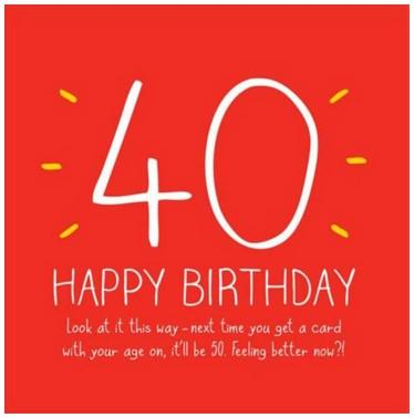 Age 40 - 40th Birthday - Card With Age On It
