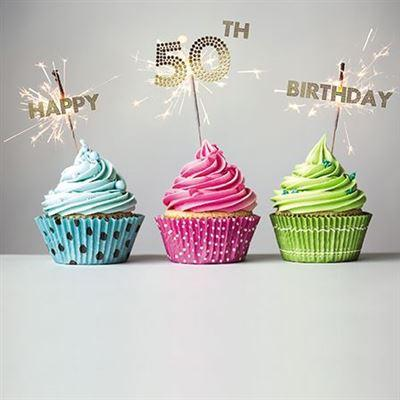 Age 50 - 50th Birthday - 3 Sparkling Cupcakes