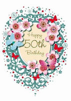 Age 50 - 50th Birthday - Flowers And Butterflies