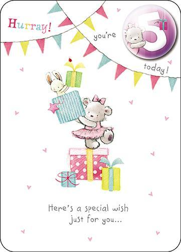 Age 5 - 5th Birthday - Bear & Presents