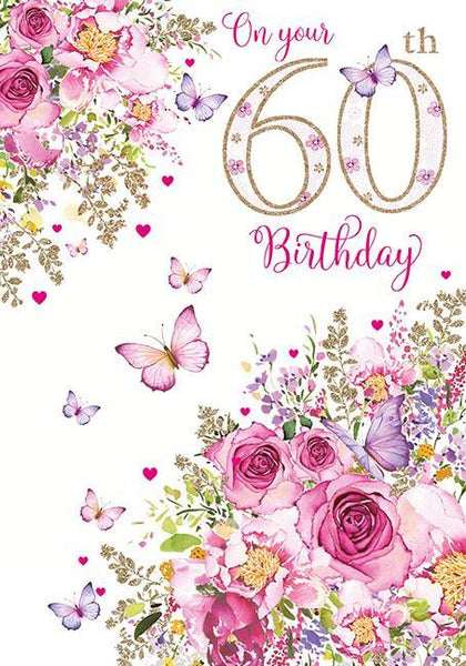 Age 60 - 60th Birthday - Butterflies/Glowers