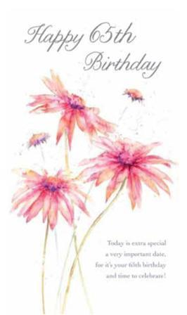Age 65 - 65th Birthday - Pink Flowers