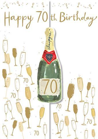 Age 70 - 70th Birthday - Champagne And Glasses