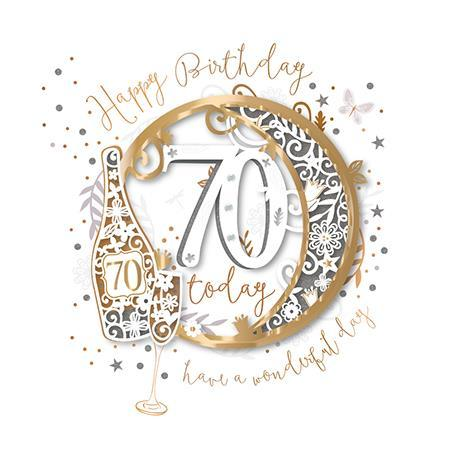 Age 70 - 70th Birthday - A Glass Of Champagne