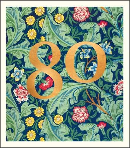 Age 80 - 80th Birthday - William Morris Pattern