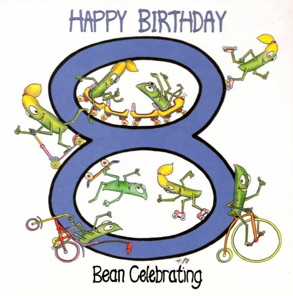 Age 8 - 8th Birthday - Bean Celebrating 8