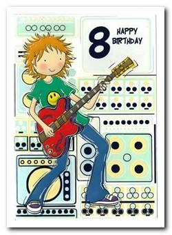Age 8 - 8th Birthday - Boy with Guitar