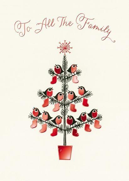 Christmas Card - All The Family - Christmas Tree With 12 Robins