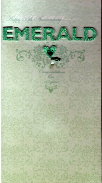 Anniversary Card - 55th Emerald Anniversary - Emerald Heart