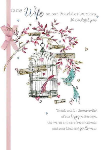 Anniversary Card - 30th Pearl Anniversary Wife - Birdcage