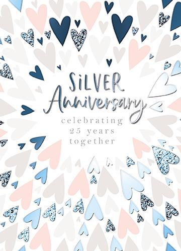 Anniversary Card - 25th Silver Anniversary - Hearts