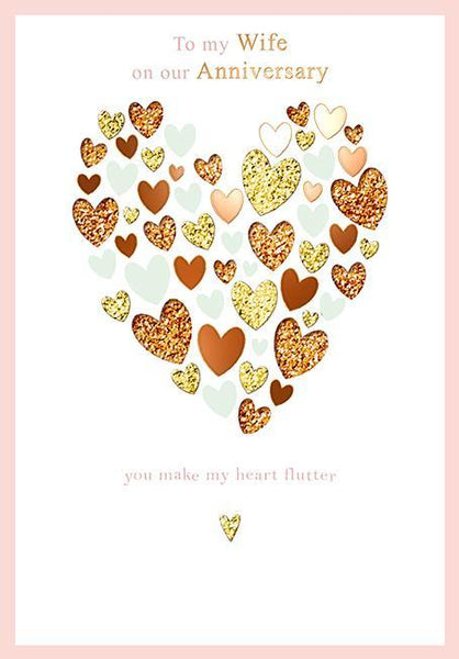 Anniversary Card - Wife - Heart Flutter