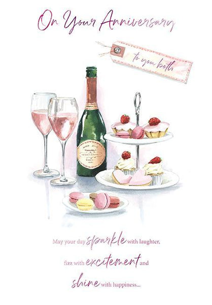 Anniversary Card - Your - Champagne and Cakes