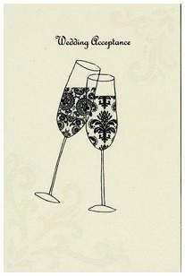 Wedding Acceptance Card - Champagne Flutes