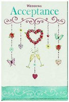Wedding Acceptance Card - Butterfly, Champagne, Hearts Garland