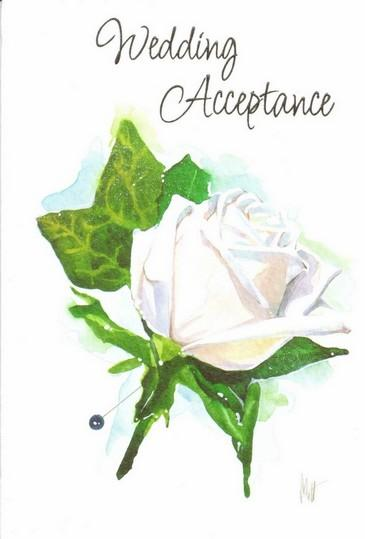 Wedding Acceptance Card -Single White Rose
