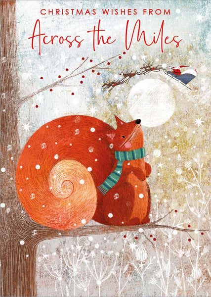 Christmas Card - Across The Miles - Squirrel & Sleigh