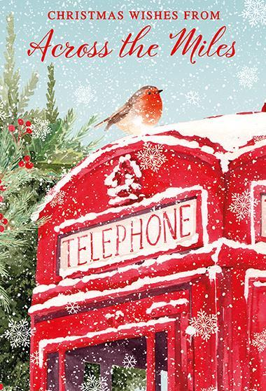 Christmas Card - Across The Miles - Robin On Phone Box
