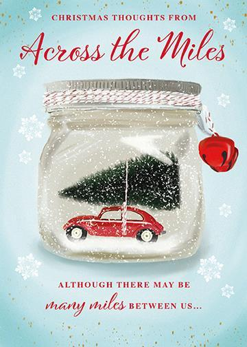 Christmas Card - Across The Miles - Car/Tree Snowglobe