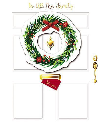 Christmas Card - All The Family - Wreath On Front Door