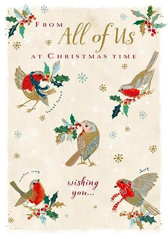 Christmas Card - All Of Us - Christmas Robins