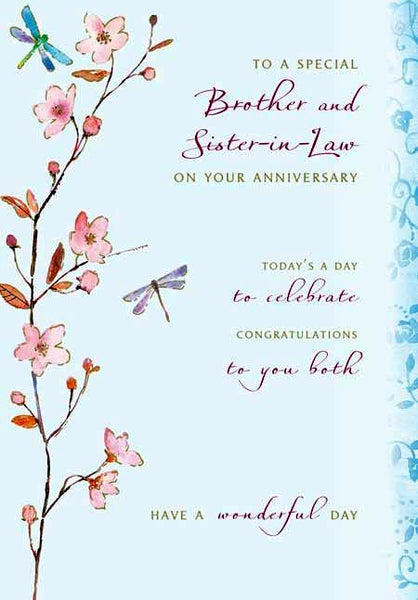 Anniversary Card - Brother and Sister-in-Law - Japanese Blossom