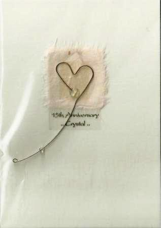 Anniversary Card - 15th Crystal Anniversary - Metal Heart