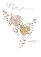 Anniversary Card - 50th Golden Anniversary - Gold Hearts