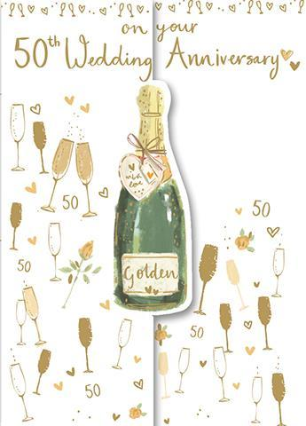 Anniversary Card - 50th Golden Anniversary - Champagne & Glasses