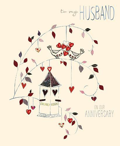 Anniversary Card - Husband Anniversary - LoveBirds and Birdhouse