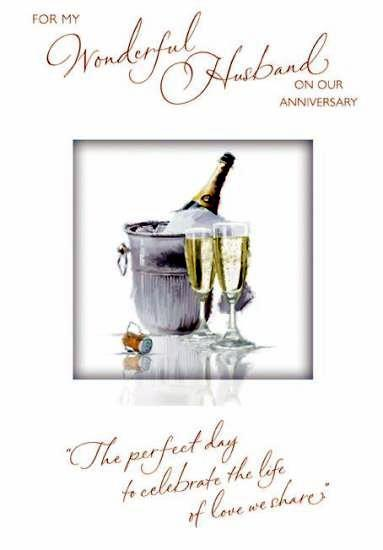 Anniversary Card - Husband Anniversary - Champagne Bucket and Flutes