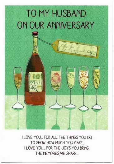 Anniversary Card - Husband Anniversary - Wine