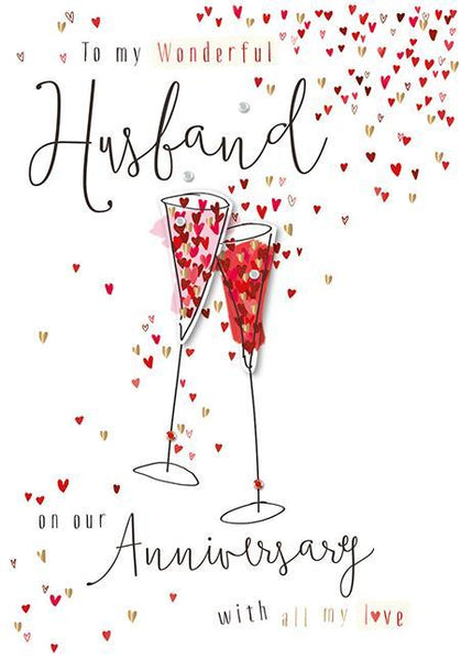 Anniversary Card - Husband - Sharing Champagne