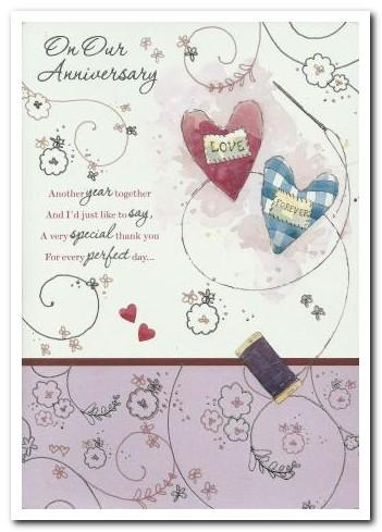 Anniversary Card - Our Anniversary - Love Heart Cushion