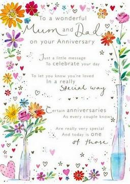 Anniversary Card - Mum and Dad Anniversary - Flowers For You