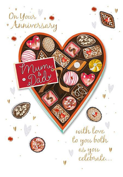 Anniversary Card - Mum & Dad Anniversary - Heart Shaped Box of Chocolates