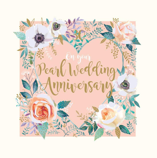 Anniversary Card - 30th Pearl Anniversary - Pearl Wedding