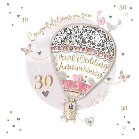 Anniversary Card - 30th Pearl Anniversary - Pearl Balloon