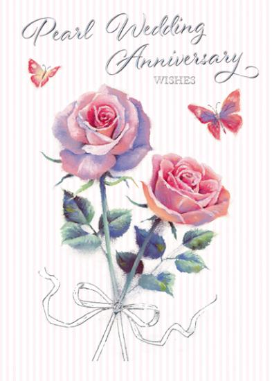 Anniversary Card - 30th Pearl Anniversary - 2 Red Roses